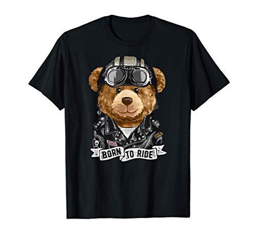 Lindo oso de peluche motociclista de la vieja escuela Camiseta
