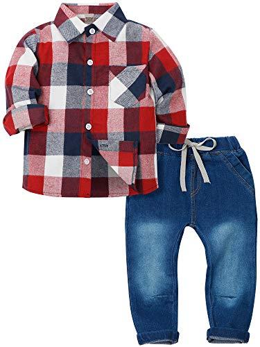 Zoerea 2 Pezzi Camicia a Quadri a Maniche Lunghe + Pantaloni Jeans con Coulisse per Bambino Ragazzi Primavera Autunno Casuale Outfit Abbigliamento Set