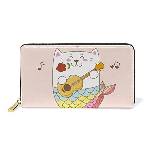 Katze Meerjungfrau Gitarre Liebeslied Reißverschluss Brieftasche Echtes Leder Geldbörse Kreditkarteninhaber für Frauen Telefon Mädchen Männer