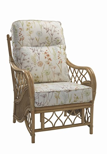 Desser Oslo Armchair in Mulberry Fabric – Luxury Real Cane Rattan Indoor Conservatory Furniture...
