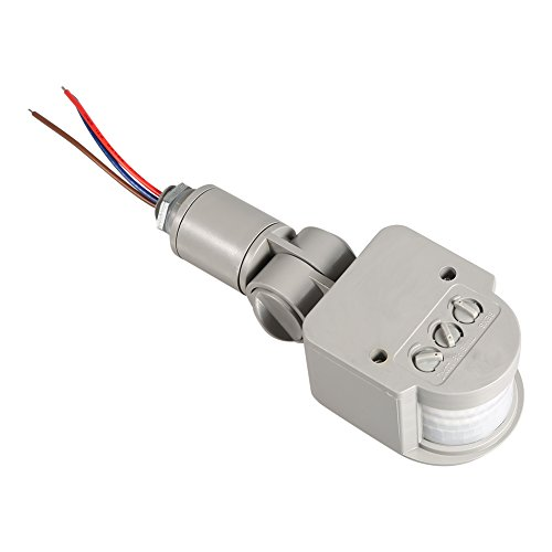 Fdit LED al aire libre 90 ~ 250 V 180 grados infrarrojo PIR sensor de movimiento interruptor de luz de pared gris