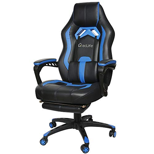 Gaming Chair Racing Style Office Chair Video Game Chair,High Back PU Leather PC Racing Computer Desk Office Swivel Recliner with Retractable Footrest and Adjustable Lumbar Cushion Support (Blue)