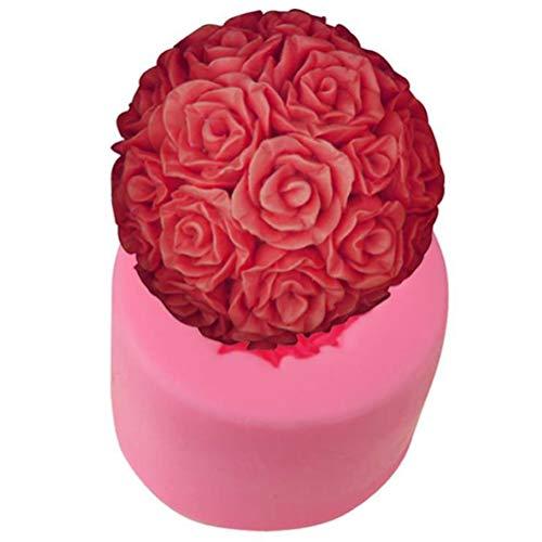 SevenMye Silikonform für Kerzenform, Rosenkugel, Aromatherapie, Kerze, Seife, Handwerk, Backwerkzeug für handgefertigte Seife, Kuchen, Fondant, Dekoration, Süßigkeiten, Schokolade, Kerze
