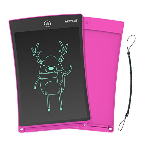 NEWYES Jot 8.5 Inch Doodle Pad Drawing Board LCD Writing Tablet with Lock Function for Note Taking eWriter Gifts for Kids Pink