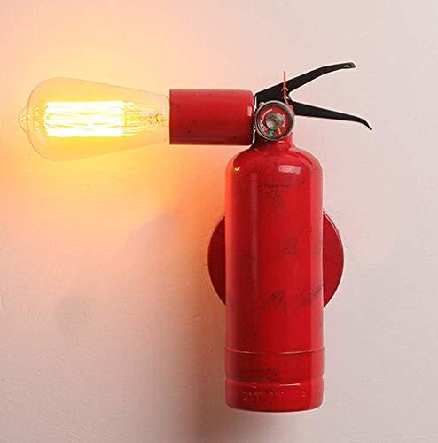 Lampada da Parete retrò Industriale E27 Illuminazione Decorativa A Forma di Estintore Corpo Lampada in Ferro può Ruotare Ristorante Bar Corridoio Rosso,7,5X27cm