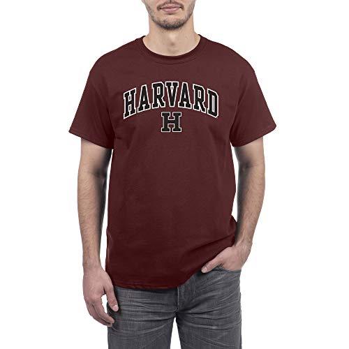 Elite Fan Shop NCAA Herren-T-Shirt, kurzärmelig, Herren, Team Color Arch Short Sleeve T-Shirt, Harvard University Crimson, Large