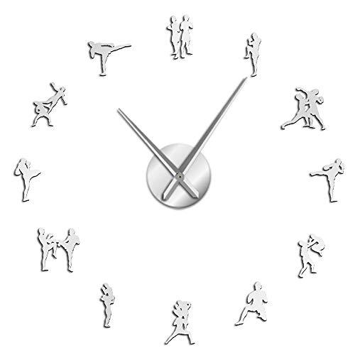 ZHAOCHENBO Reloj De Pared,Cuadro Tailandés Tradicional Lucha DIY Plata Reloj Grande De Pared Decoracion Muay Thai Kick Lucha Sin Cerco contra Reloj Reloj Reloj Grande,47 Pulg.