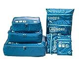 Packwürfel für Reise -7 Sets Packing Cubes Koffer-Organizer Aufbewahrungstasche wasserdicht und leichtgewichtig - Koffer Kompressionsbeutel (Dark blau)