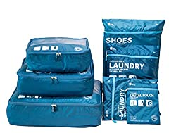 Packing Cube for Travel 7 Sets Packing Cubes Suitcase Organizer Storage Bag Waterproof and Lightweight - Suitcase Compression Bag (Dark Blue)