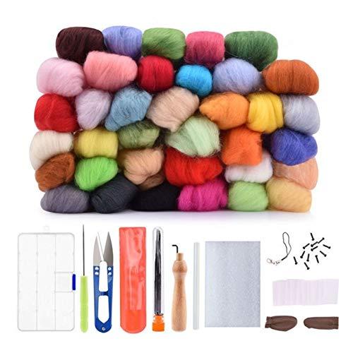 HAIXUE 50 36 Color de Fieltro de Lana Aguja de Fieltro Arte de la Tela Starter Kit Mecha de Bricolaje de Hilado de Costura de la Costura del Molde Accesorios (Color : 36 Color Starter Kit)