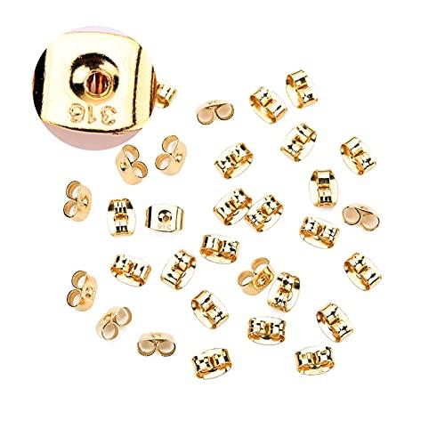 LiQinKeJi8 Cómodo 100pcs / Lote 316l Tuerca de Oreja de Acero Inoxidable 6x4.5mm Pendiente HIPO-alergénica Apoya Tapón para el hallazgo de la joyería de DIY Pendiente para Hacer Joyas DIY