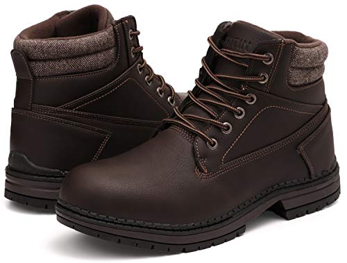 WHITIN Men's Mid Soft Toe Leather Insulated Work Boots Construction Rubber Sole Roofing Waterproof for Outdoor Hiking Winter Snow Concrete Backpacking Mountaineering Hiker Field Brown Size 12