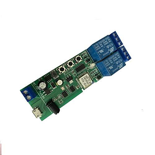 MHCOZY Módulo de interruptor de relé WiFi Ewelink, módulo de interruptor de temporizador con bloqueo automático/momentáneo, foco de puerta de garaje con control por voz Alexa (2ch WiFi RF)