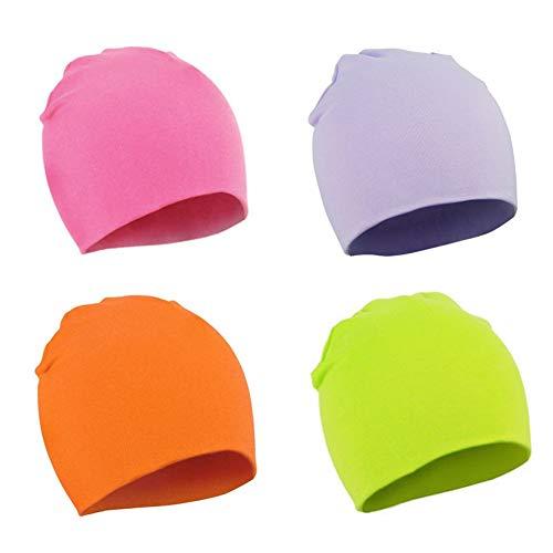 Danolt 4 Pcs algodón Gorros de Punto para bebés, niños, niñas y niños de 0 a 3 años
