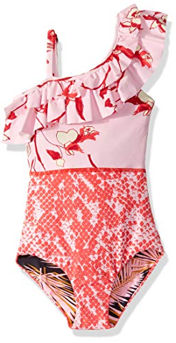 Maaji Girl's One Piece with Ruffle Shoulder Swimsuit, Sunny Debbie Pink Floral, 8