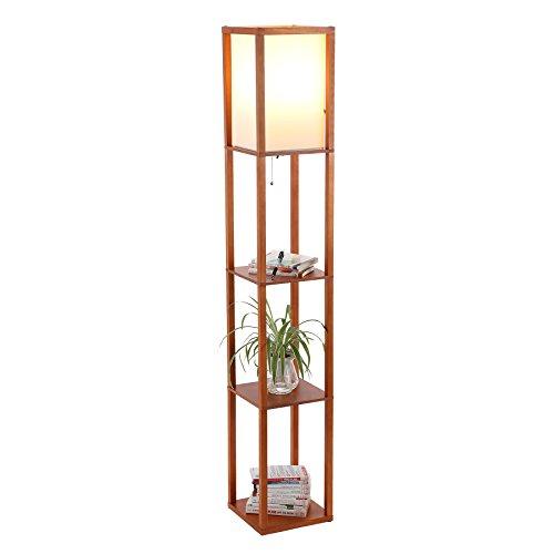 CO-Z Floor Lamp, Etagere Lamp with Shelves, Standing Lamp with 3 Wood Display Storage Shelves for Bedroom Bedside Corner Living Room, Simple Modern Floor Lights with LED Bulb