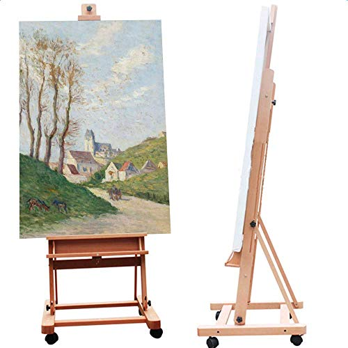 ShowMaven Multi-Function Studio Artist Easel, H-Frame Extra Large 360-Degree Spinner Wheel Rolling Adjustable Height, Red Beech Wood Studio Painting Stand