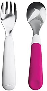 OXO Tot - Juego de tenedor y cuchara para entrenamiento, Rosado, 1 pieza
