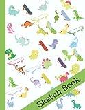 SketchBook: Dinosaur and Skateboard Blank Drawing Book For Kids...