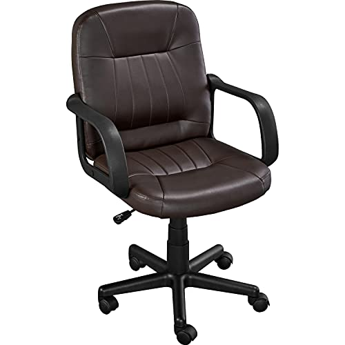Yaheetech Bürostuhl ergonomisch Schreibtischstuhl Drehstuhl mit Rollen Bürosessel Kunstleder Chefsessel mit Armlehne für Büro/Wohnzimmer Braun