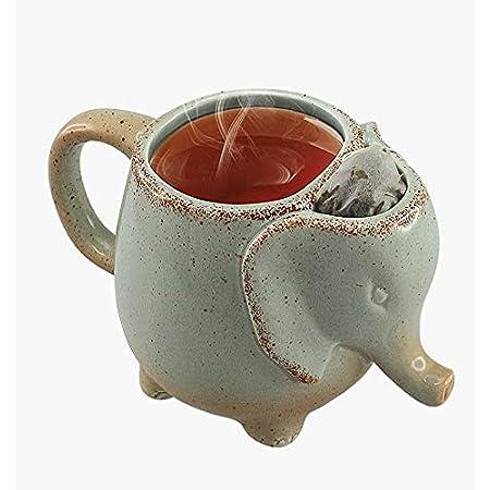 Elephant Tea Mug (Mint Green) 15 Oz With Tea Bag Holder