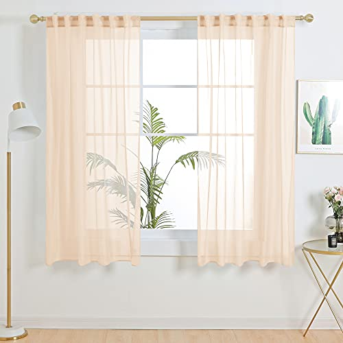 Deconovo Sheer Window Curtains 45 inches Long Semi Transparent Voile Window Coverings Panels for Bedroom Living Room Kitchen Kids Room, 2 Panels, Each 52x45 in, Peach