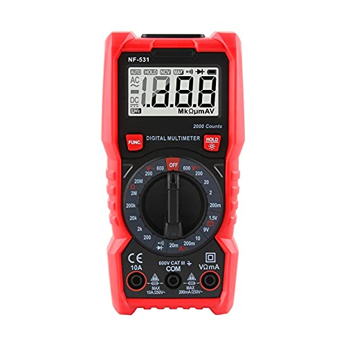NF-531 Pantalla digital Multímetro RESISTENCIA DIODE PROFESIONAL METER TESTER DC TESTAGE METER TESTER 2000 CUENTA (Color : RED BLACK)