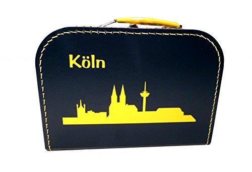 Pappkoffer blau mit Silhouette Köln gelb 20 cm