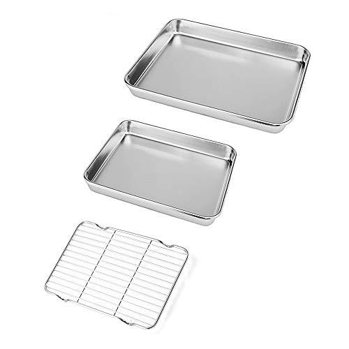 Neeshow Edelstahl-Toaster-Ofenblech, professionell, robust und gesund, tiefer Rand, hochwertiges Spiegel-Finish, spülmaschinenfest, 3er-Set