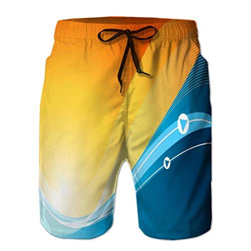 Xunulyn Pantalones Cortos de Playa de Moda Hombre Boardshorts Swimtrunks Casual Wave Background Elements Leaf