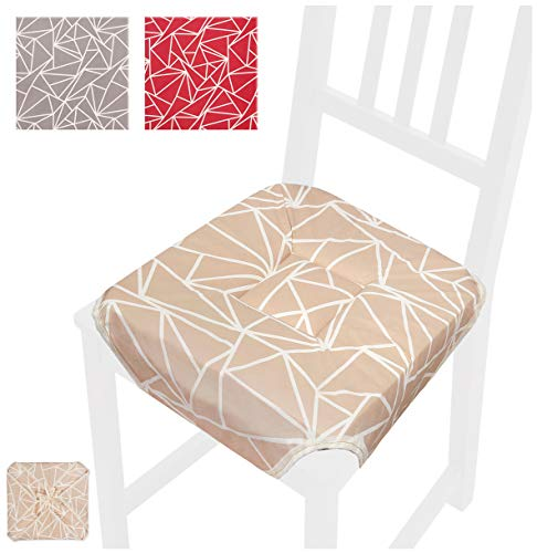 EMMEVI Coussin de Chaise Assise Moderne 40 x 40 cm Universel Souple avec Lacets et ailettes Coton 100% Made in Italy Rouge