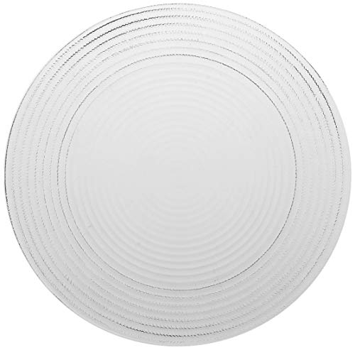 ChargeIt by Jay Set of 6 Round Dinner Plates, Clear