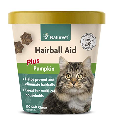 NaturVet – Hairball Aid Supplement for Cats - Plus Pumpkin – Helps Eliminate & Prevent Hairballs – 100 Soft Chews