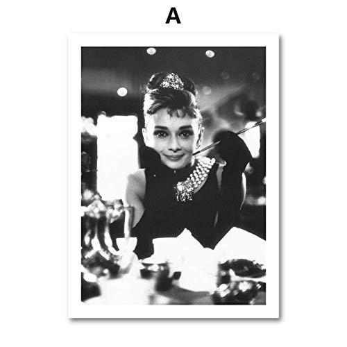 SXXRZA Wandkunst 40x55cm ohne Rahmen Schwarz Weiß Sexy Fashion Girl Move Star Nordische Poster und Drucke Wandbilder für Wohnzimmer Dekor