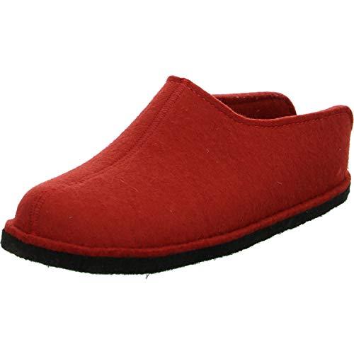 Haflinger Flair Smily, Pantoffeln, Unisex-Erwachsene, Filz aus reiner Wolle, Rot (Rubin 11), 40 EU