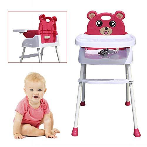 Wangkangyi 4 in 1 Baby Kinderhochstuhl, Verstellbarer Essstuhl Babystuhl Faltbar, Hochstuhl mit Tablett Sicherheitsgurt Kinderstuhl Kindersafety Babyhochstuhl Baby Essstuhl Klappbar