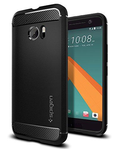 Spigen HTC 10 Hülle, [Rugged Armor] Karbon Erscheinungsbild [Schwarz] Elastisch Stylisch Soft Flex TPU Silikon Handyhülle Schutz vor Stürzen & Stößen Schutzhülle für HTC 10 Case Cover Black (H09CS20276)