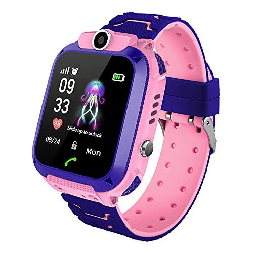 Kinder Intelligente Uhr Wasserdicht, Smartwatch LBS Tracker mit Kinder SOS Handy Touchscreen Spiel Kamera Voice Chat Wecker für Jungen Mädchen Student Geschenk
