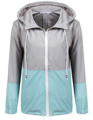 Unibelle Damen Regenjacke Trainingsjacke für Damen, Freiezitjacke ohne Kapuze mit Stehkragen Blau XXL