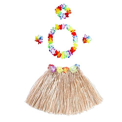 Los Favores 5pcs / Set Hawaiian Hula Falda De Hierba con La Flor Leis Hawaiano De Luau De Traje Determinada Elástico Hierba Y Parte Accesorios para La Hawaiana Flor (Color Paja)