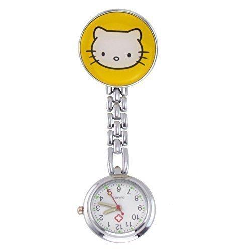 Century Ansteckuhren Klippuhren Bunte Auswahl an Sister Uhren Pulsuhren Schwesternuhren für Pflegekräfte n (Kätzchen gelb)