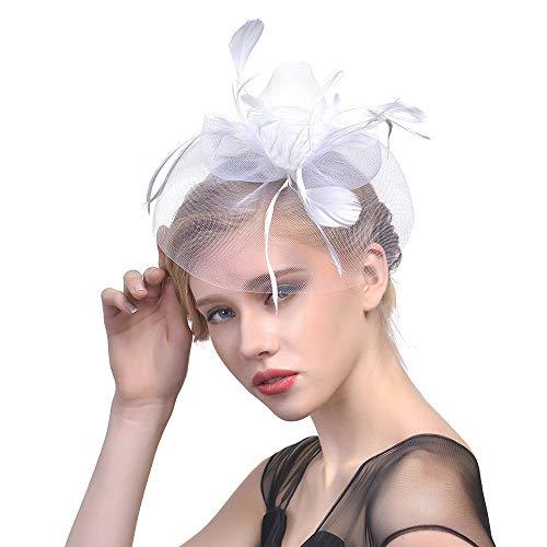 Damen Fascinator Blumen Netz Braut Kopfschmuck Elegant Hut Feder Haarklammer Retro Haarschmuck für Party Hochzeit Cocktail