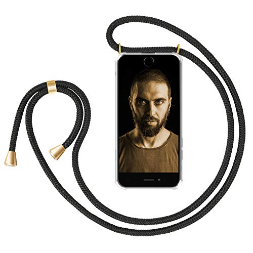 "ZhinkArts Handykette kompatibel mit Apple iPhone 7/8 / iPhone SE (2020) - 4,7"" Display - Smartphone Necklace Hülle mit Band - Handyhülle Case mit Kette zum umhängen in Schwarz - Gold"