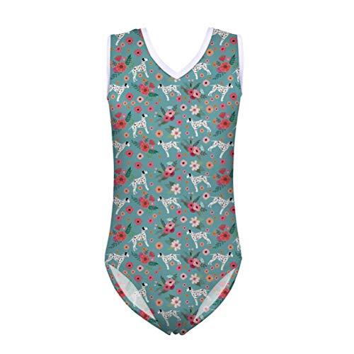 chaqlin Mädchen Badeanzug Einteiler Niedlicher Hund Bedruckte Ärmellose Badebekleidung Gymnastic Dancewear UPF 50+ Badeanzug für kleine Mädchen Baby 13-14 Jahre