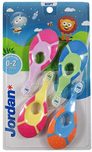 Jordan* | Step 1 Baby Toothbrush | Toddler Toothbrush for Age 02 Years Old | The Original First Toothbrush Baby with Extra Soft Bristles amp Soft Biting Ring for Babies Gums amp Easy Grip | Pack 4 Units