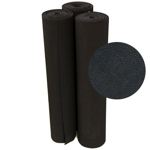 """Rubber-Cal""""Tuff-n-Lastic"""" Rubber Runner Mat - 1/8 inches x 48 inches x 1ft Rolled Rubber Flooring - Black"""