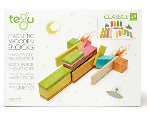 24 Piece Tegu Magnetic Wooden Block Set, Tints