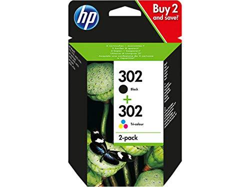 HP Envy 4574 Original Druckerpatronen Tinte Patrone HP302 Multipack F6U65AE Tintenpatronen Set X4D37AE 1x Black F6U66AE 1x Color F6U65AE
