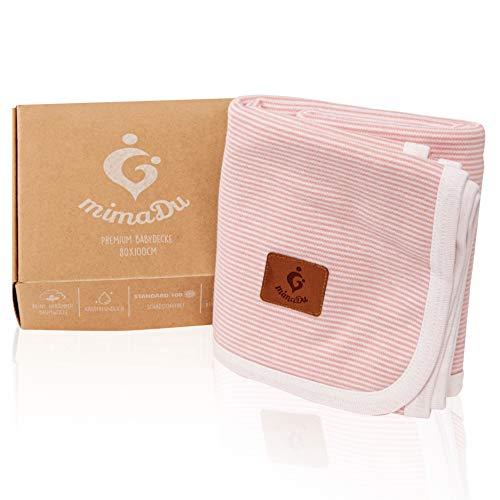 mimaDu Babydecke aus 100%  OEKO-TEX Baumwolle, gestrickte Kuscheldecke - himmlisch weich und bequem - ideal als Taufgeschenk, Geburtsgeschenk oder Baby-Erstausstattung, für Mädchen (Rosa Weiß)
