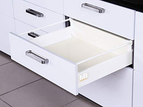 SOTECH Système de Tiroir SO-BOX Blanc Hauteur 199 mm avec barre lateral Profendeur 500 mm Capacité de charge de tiroir jusqu'à 40 kg Soft-Close